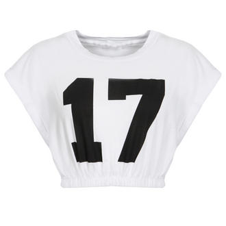 View Item White Number Print Crop Top